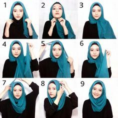 This is a basic everyday hijab style using a gorgeous blue scarf mixed with a…