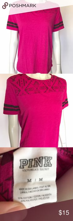 • PINK Victoria's Secret • pink t-shirt Cute and comfortable pink tee! Tribal pattern near the neckline. Black stripes on sleeves of this short sleeve shirt. Great casual top! PINK Victoria's Secret Tops Tees - Short Sleeve