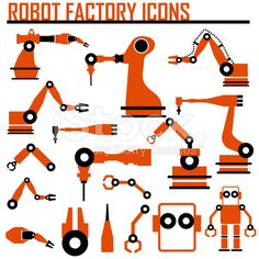 robot factory icons vector illustration. royalty-free stock vector art