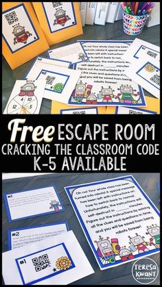This is a free escape room game for your classroom! Games are available for kindergarten, first grade, second… Escape The Classroom, Escape Room For Kids, Escape Space, Breakout Game, Breakout Boxes, 4th Grade Math, First Grade Games, Grade 2, Learning Numbers