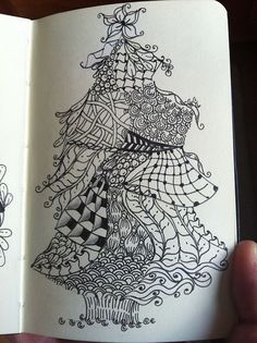 Zentangle Christmas tree by Hollyw54, via Flickr (I have been doing zentangle art all my life! and didn't even realize it) #Zentangle #Christmas #Zentangle Patterns