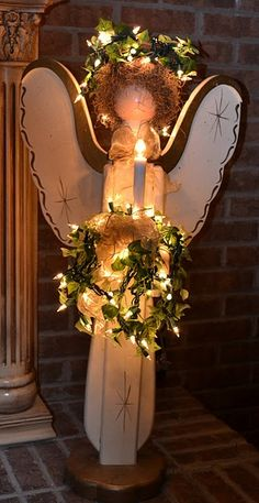 Uploaded by Havas Eva. Find images and videos on We Heart It - the app to get lost in what you love. Christmas Wood Crafts, Primitive Christmas, Country Christmas, Outdoor Christmas, Christmas Angels, Christmas Projects, All Things Christmas, Winter Christmas, Holiday Crafts