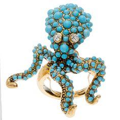 Kenneth Jay Lane Blue Octopus Ring Octopus Ring, Hat Decoration, Fashion Jewelry Stores, Glitz And Glam, Kenneth Jay Lane, Blue Accents, Unique Rings, Costume Jewelry, Turquoise Bracelet