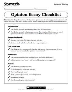 storyworks persuasive essay checklist