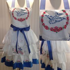 Vintage full apron shabby chic bright blue crocheted embroidered pillowcases embroidered bluebird  embroidered bodice blue ribbon ties by Littlebirdproductset on Etsy
