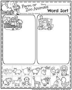 Back to School Preschool Worksheets - Farm or Zoo Animal Word Sort.