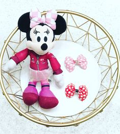 Minnie Mouse inspired headband. Minnie Mouse Headband, Red Minnie Mouse, Pink Polka Dots, Ribbon Bows, Hair Accessories, Inspired, Inspiration, Biblical Inspiration, Hair Accessory