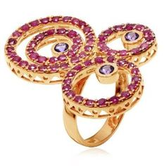 Get the best price for  LenYa Special - Party and casual wear, Valentines Day Pink Gold Plated Ring with Round Amethyst, Round Ruby, (Ring Size 6.4)