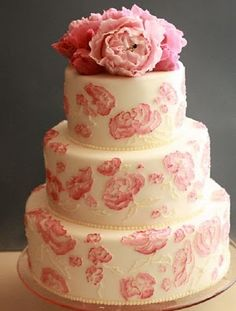 Love peonies and they are so pretty on this cake.  Looks like they used a brush embroidery type technique to paint the peonies on the sides.