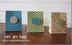 Cute little Mini Gift Bags - perfect for all your treats for showers or parties.