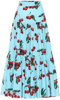 Dolce & Gabbana Exclusive to Mytheresa cherry printed cotton maxi skirt Cotton Maxi Skirts, Printed Maxi Skirts, Long Maxi Skirts, Fashion Models, Girl Fashion, Maxi Skirt Tutorial, Clubbing Outfits, Queen Outfit, Kurti Designs Party Wear