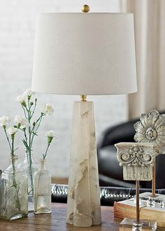 Regina Andrew Lighting Small Alabaster Quatrefoil Table Lamp @Real Simple Nov 2011