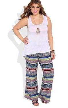Deb Shops Plus Size Palazzo Pants with Multicolor Paisley Print