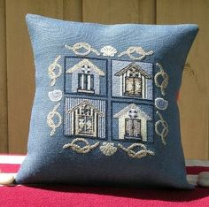 Cross stitch pattern BEACH HOUSE - navy,blue,nautical pillow,needlepoint,embroidery,coastal,burlap pillow,pattern,diy,stitch,Anette Eriksson