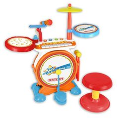 Digital Drum Set with Keyboard - The Original Toy Company Baby Drum Set, Cable Drum Table, Baby Toys, Kids Toys, Drum Drawing, Digital Drums, Special Needs Toys, Instrument Sounds, Cleaning Toys