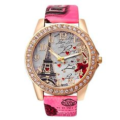 Women Watch CULATER Retro Eiffel Tower Leather Band Analog Quartz Watch * You can find out more details at the link of the image. (This is an affiliate link)