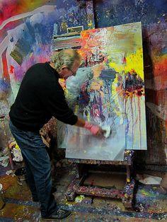 Gerard Stricher in his studio