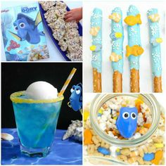 #The dory theme based snaks #You can also arrange like jello slices, fruit punch,blue floats,fish pretzels #bookeventz