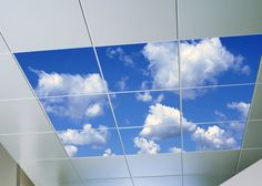 Artificial Sky, world's largest sky ceilings made from acoustic ceiling tiles, LED skylights and virtual sky ceiling panels for windowless environments. Sky Ceiling, Office Ceiling, Ceiling Murals, Ceiling Panels, Wall Murals, Ceiling Lights, Luz Natural, Acoustic Ceiling Tiles, Wallpaper Ceiling