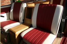 red and cream striped campervan seat colour scheme Camper Caravan, Camper Van, Campers, Campervan Storage Ideas, Combi T2, Vw Super Beetle, T2 T3, Kombi Home, Van Car