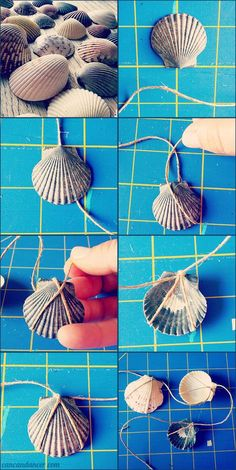 Diy Crafts - Make your own Seashell Garland without power tools Seashell Jewelry, Seashell Art, Seashell Crafts, Crafts With Seashells, Seashell Mobile, Diy Jewelry, Seashell Necklace, Sea Crafts, Diy And Crafts