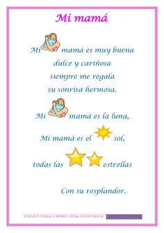 Textos iconoverbales - How To Make Things Mothers Day Poems, Mothers Day Crafts For Kids, Mommy Quotes, Father Quotes, Family Quotes, Spanish Lesson Plans, Spanish Lessons, Study Spanish, Elementary Spanish