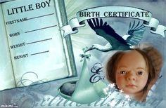 birth certificate (boy) Birth Certificate, Reborn Dolls, Little Boys, Nursery, Baseball Cards, Children, Template, Infants, Toddlers