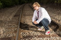 Senior portrait for boys.  Shot with two einstein e640 strobes and Nikon D610 camera on a local train track by MF Photography Studio in Neenah, WI.