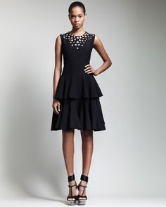 Metal-Embellished Tiered Dress by Alexander McQueen