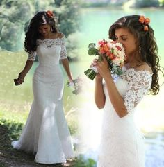 2016 New style white  invory Full lace wedding dresses Mermaid bateau half Sleeve Sweep strain Bridal gowns for wedding