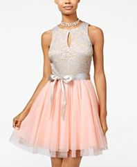 Teeze Me Juniors' Lace Tulle Fit & Flare Dress