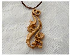 Wood Pendant / Wooden Pendant /  Hand Carved by ErlionWorkshop, $34.00
