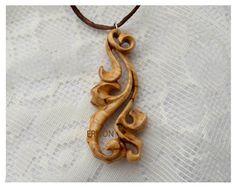 Wood Pendant / Wooden Pendant /  Hand Carved by ErlionWorkshop, $34.00