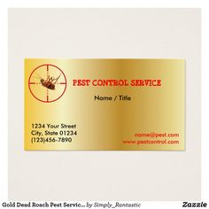 Gold Dead Roach Pest Service 1 Sided