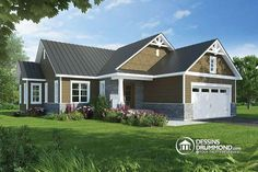 This appealing craftsman-inspired bungalow with its porche and decorative wood features offers a large open-floor concept with a living room and a Ranch House Plans, Best House Plans, Country House Plans, Country Style Homes, Dream House Plans, House Floor Plans, Narrow House Designs, Narrow Lot House Plans, Drummond House Plans