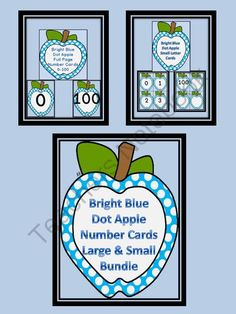 Bright Blue Dot Apple Number Flashcards and Posters Bundle 0-100 from My Kinder Garden on TeachersNotebook.com (259 pages)  - Here is the bright blue apple number cards in a bundle. The bundle includes both the Bright Blue Apple Full Page Number Cards 0-100 and Bright Blue Apple Number Cards 0-100 (small cards). There is a color background card for each number as well as a white