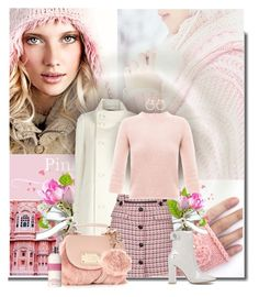 """Pink winter day"" by anna-survillo ❤ liked on Polyvore featuring Bebe, Tara Jarmon, Topshop, Carven, Floozie by Frost French, Gianvito Rossi, Molton Brown, women's clothing, women's fashion and women"