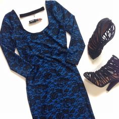SALE Today Only   NWOT Blue Floral Bodycon Dress Turn heads and break necks. This sexy blue dress comes in a black floral print and features a bodycon silhouette, 3/4 length sleeves and a scoop back. NWOT, excellent condition. 82% nylon, 18% spandex. Forever 21 Dresses