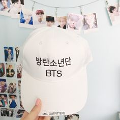 BTS Baseball Cap ($22) ❤ liked on Polyvore featuring accessories, hats, embroidered ball caps, white ball cap, adjustable baseball hats, buckle hats and baseball hats