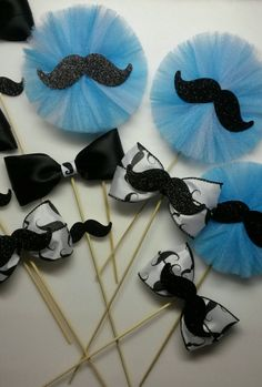 Check out this item in my Etsy shop https://www.etsy.com/listing/229842710/mustache-centerpiece-bow-tie-centerpiece