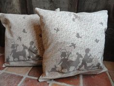 """Beautiful cushion covers (without filling) """"Forest Fairy Tale"""" by Claire and Eef. In colors Brown and rose!  50 x 50 cm."""
