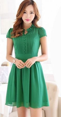 Elegant Ruff Collar Short Sleeves Single Breasted Solid Color Dress For Women Simple Dresses, Cute Dresses, Beautiful Dresses, Casual Dresses, Short Sleeve Dresses, Summer Dresses, Short Sleeves, Dresses Dresses, Chiffon Dress