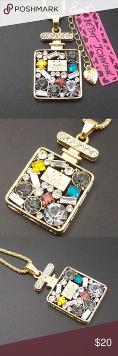 Cute inlay cCrystal Perfume Bottle Necklace Betsey New with tags......very cute inlay Crystal Perfume Bottle Necklace by Betsey Johnson Betsey Johnson Jewelry Necklaces