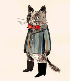 """Macak"" by Tanja Stevanovic from Belgrade, Serbia #cat #cats #catart #kitten #art #illustration #drawing"