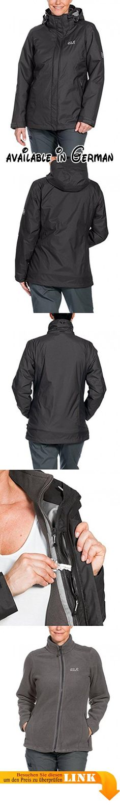 Jack Wolfskin Damen 3-in-1 Jacke Arborg Jacket, Dark Steel, M, 1105701-6032003. 3-in-1-Wanderjacke. wasserdicht, winddicht. atmungsaktiv. baumwollartig. warme Fleece-Innenjacke #Sports #OUTDOOR_RECREATION_PRODUCT