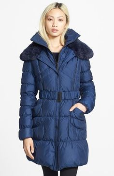 Betsey Johnson Belted Ruched Quilted Coat with Faux Fur Trim (Online Only) available at #Nordstrom