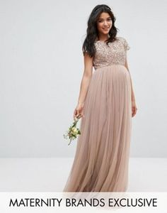 Maya Maternity Maxi Dress With Delicate Sequin And Tulle Skirt