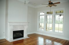 Check out the view through the family room windows, complete with transoms!