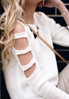 Cutout Sleeves Sweater - White - All-day Chic Wear Sweater