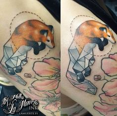Jumping fox / geometric tattoo by Milla Sipola @ La Muerte Ink